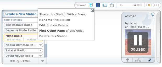 Select Share this Station With a Friend